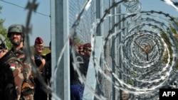 Венгерские военные и полицейские у металлического забора на границе с Сербией, возведенного с целью не допустить проникновения в страну мигрантов