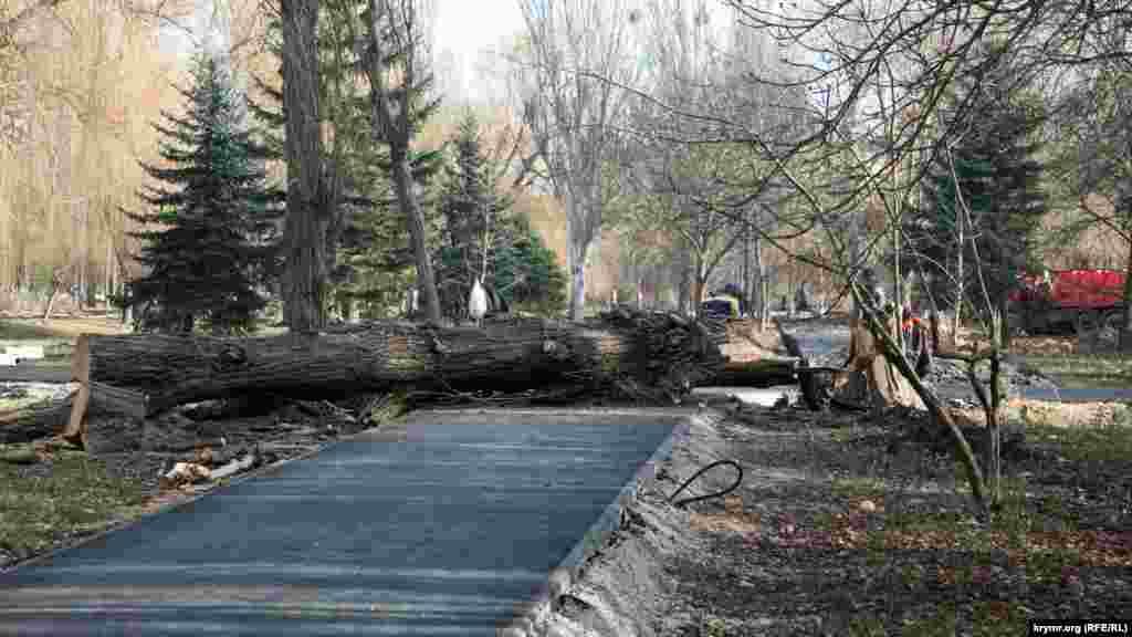 В парке усиленно ремонтируют пешеходные дорожки, однако по ним пока не пройти