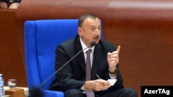 France -- President of Azerbaijan Ilham Aliyev addresses the PACE Summer Session - Strasbourg, 24Jun2014