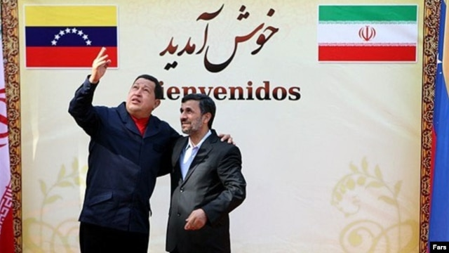 Venezuelan President Hugo Chavez (left) being welcomed at the presidential palace in Tehran by Iranian President Mahmud Ahmadinejad in 2010.