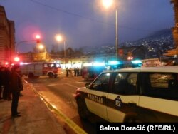 Pulled down scaffolding in the center of Sarajevo , several injured