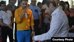 Azerbaijan -- Shamkhal Hasanli, the son of Ali Hasanov opens his radio, Araz FM