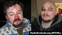 Побиті «Беркутом» під час затримання журналісти Радіо Свобода Ігор Ісхаков (л) і Дмитро Баркар, 20 січня 2014 року