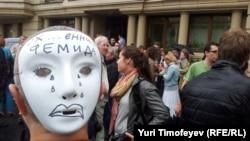 Москва, сторонники Pussy Riot возле Хамовнического суда, 20 июля 2012