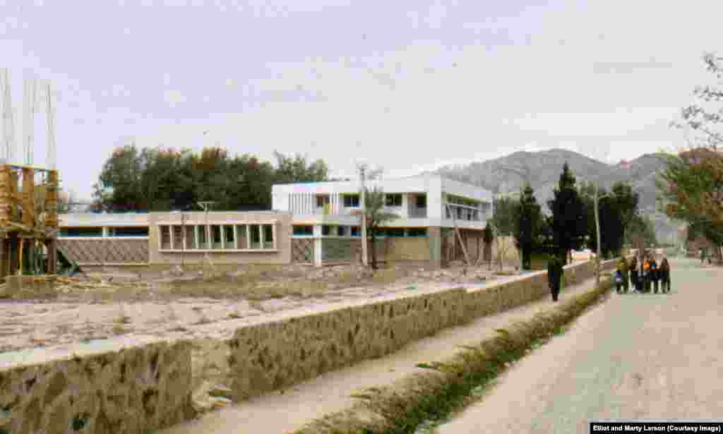 Construction of new facilities at the Jalalabad Civil Hospital in 1973. The white building was a residence for female nursing students.