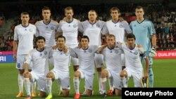 Игроки казахстанской сборной по футболу. Чехия, Пльзень, 3 сентября 2015 года.