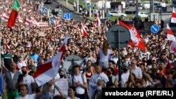 نمایی از تظاهرات روز یکشنبه بلاروس