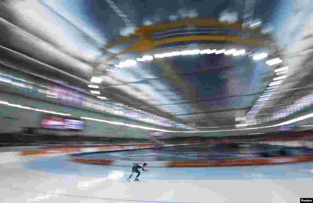 South Korea's Lee Sang-hwa skates during the women's 500 metres speed skating race. She won the gold medal.