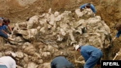 A mass grave of Bosnian Muslims in Srebrenica
