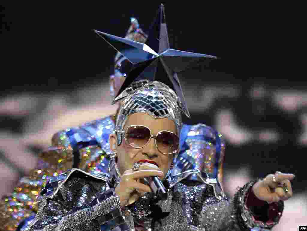 "The Ukrainian drag performer Verka Serduchka angered Russians with his 2007 Eurovision song in Helsinki, ""Dancing Lasha Tumbai."" Serduchka defended the last two words of the title as a Mongolian term for whipped cream -- but many people thought they heard the phrase ""Russia Goodbye"" come through loud and clear."