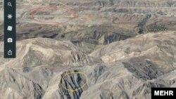 دایره زرد محل سقوط هواپیما و دایره قرمز محل فرودگاه یاسوج. هواپیما تنها ۲۰ تا ۲۵ کیلومتر با فرودگاه مقصد فاصله داشته است.