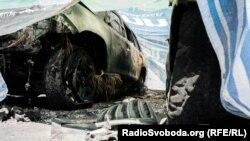 Спалені автомашини місії ОБСЄ в Донецьку, 9 серпня 2015 року