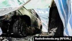 Donetskdə yandırılmış maşınlar