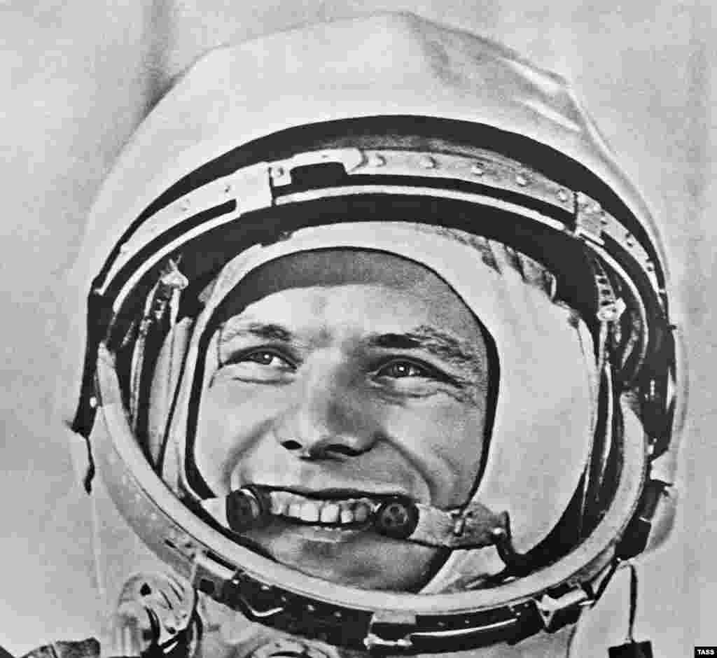 Gagarin smiles before his historic flight.