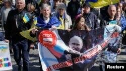 Демонстрация в Одессе против аннексии Крыма Россией. 30 марта 2014 года.