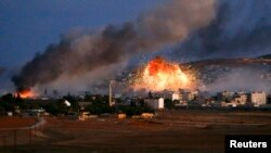 قصف جوي على مواقع في كوباني