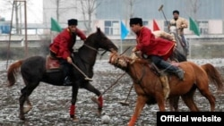 """An Azerbaijani Culture Ministry photo of players participating in the polo-like game """"chovqan,"""" known as """"chogan"""" in some cultures"""