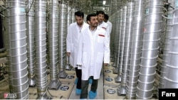 Iranian President Mahmud Ahmadinejad visits the Natanz nuclear-enrichment facility that is 350 kilometers south of Tehran in 2008.