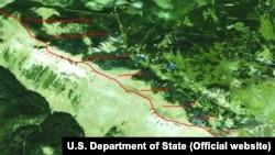 Dogovor Prištine i Podgorice o razgraničenju (označeno žutom bojom), dok predstavnici kosovske opozicije zahtevaju drugačiju putanju granice (označeno crvenom bojom)