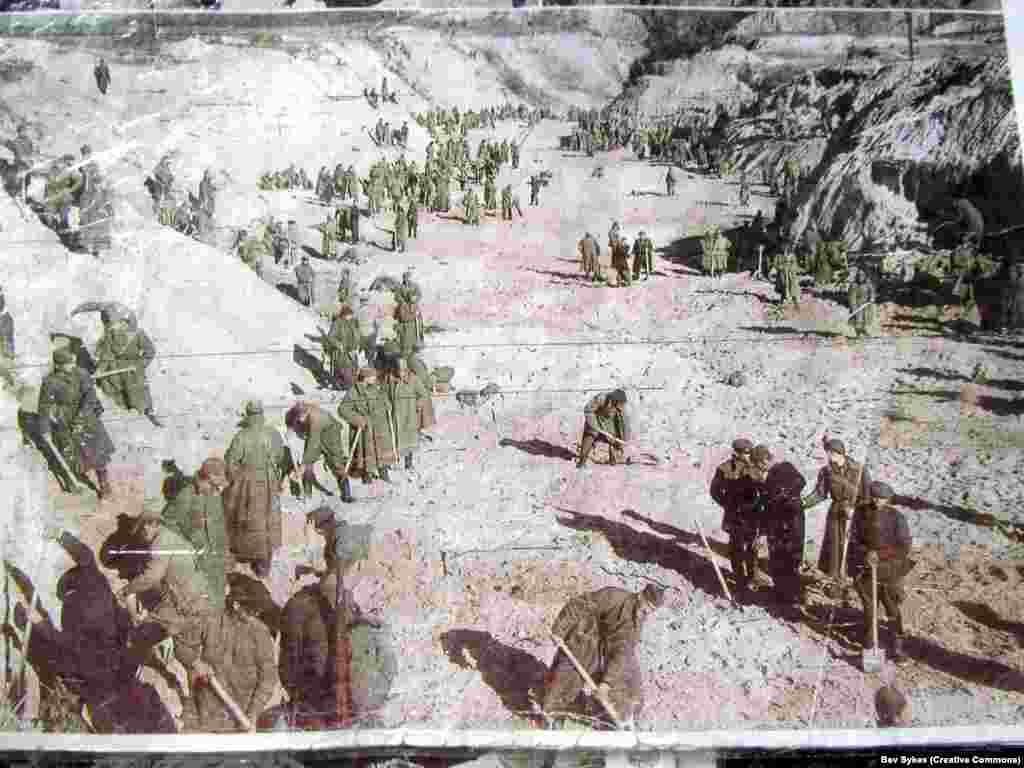 "Soviet prisoners of war in the ravine after the massacre. Babi Yar continued to be used by the Nazis as a killing site for Soviet POWs, Roma, and other ""undesirables."""
