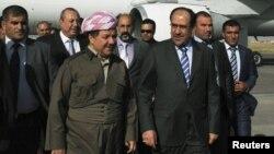 رئيس الوزراء نوري المالكي ورئيس إقليم كردستان العراق مسعود بارزاني في أربيل