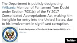 The U.S. State Department announcing the entry ban on Albanian lawmaker Tom Doshi in an April 16 tweet.