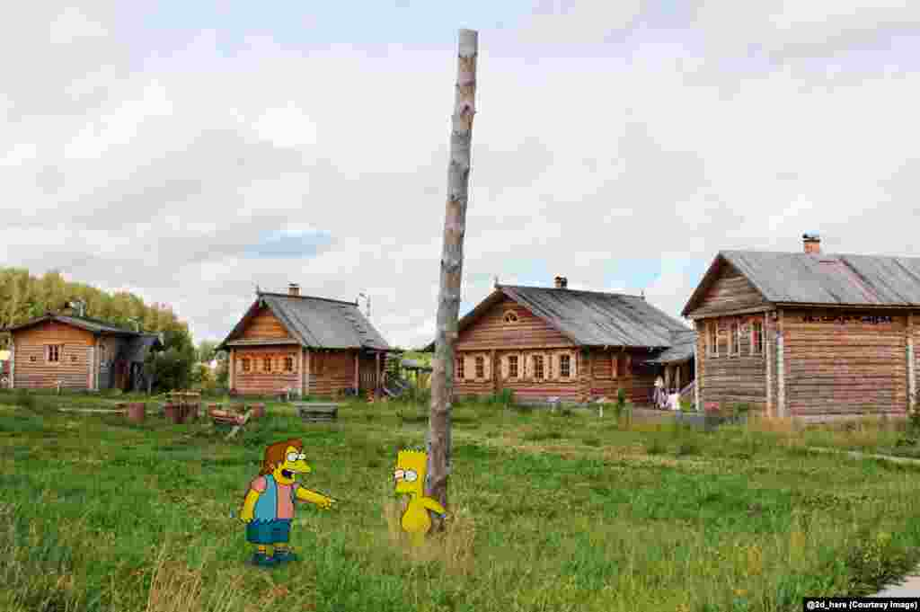 Bart Simpson is taunted in a Russian village.