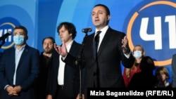Prime Minister Irakli Garibashvili of the Georgian Dream party celebrates after the elections.