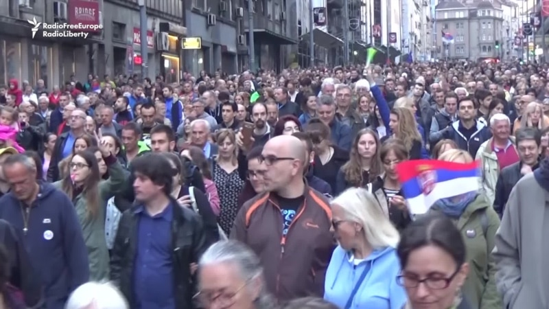 Serbian Protesters March For 21st Time