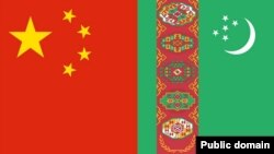 Türkmenistanyň we Hytaýyň baýdaklary