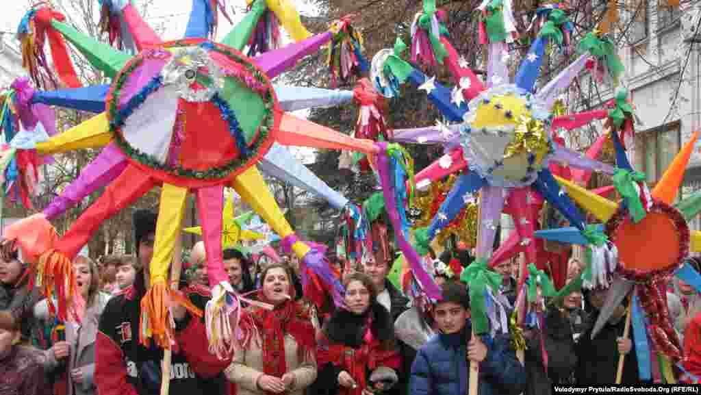 A Christmas procession in Simferopol, Ukraine
