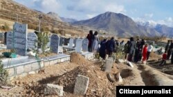 Families of 7 protesters killed in the city of Marivan attending their burial ceremony on November 20, 2019.