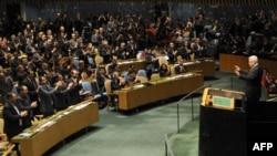 Mahmoud Abbas, după discursul pronunțat la ONU, salutat de o parte a sălii