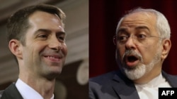 U.S. Senator Tom Cotton (left) and Iranian Foreign Minister Mohammad Javad Zarif