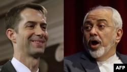 U.S. Senator Tom Cotton (left) and Iranian Foreign Minister Mohammad Javad Zarif