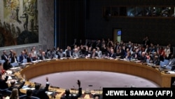 United Nations Security Council members vote on the Iran resolution at the UN headquarters in New York on July 20, 2015.