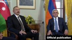 İlham Əliyev (solda) və Serj Sarkisyan oktyabrın 16-da Cenevrədə görüşüblər