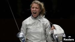 Ольга Харлан святкує перемогу на Олімпійських іграх у Лондоні
