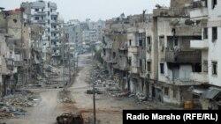 Последствия боевых действий в одном из городов Сирии