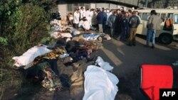 Тела погибших в ходе событий в октябре 1993 года в Москве