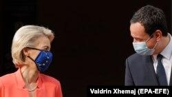 Presidentja e Komisioni Evropian, Ursula von der Leyen dhe kryeministri i Kosovës, Albin Kurti. Prishtinë, 29 shtator 2021.