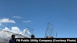 یکی از پایههای منفجرشده شرکت برق برشنا در كلكان ولایت کابل