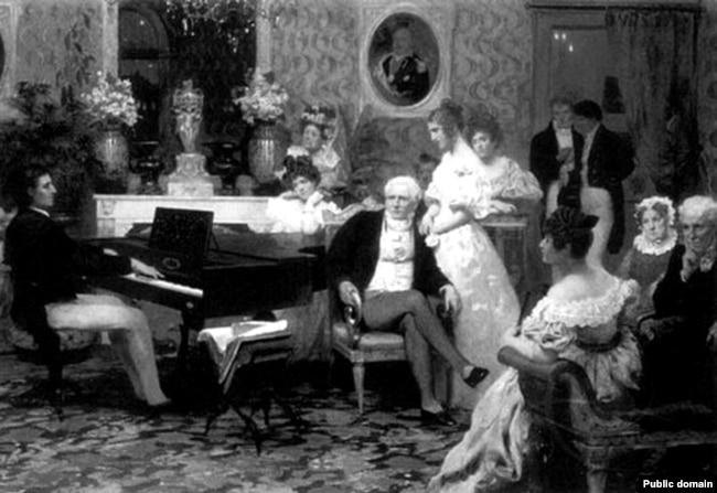 Шапэн грае ў бэрлінскім палацы Радзівілаў. Ілюстрацыя Генрыха Сямірадзкага
