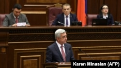 ARMENIA -- Armenia's former president Serzh Sarkisian (C) attends a session of parliament in Yerevan, April 17, 2018
