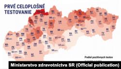 Итоги первого этапа общенационального тестирования на карте Министерства здравоохранения Словакии