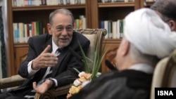 خاویر سولانا، مسئول پیشین سیاست خارجی اتحادیه اروپا، در دیدار با هاشمی رفسنجانی.