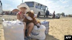 Беженка из Украины в Ростовской области России.