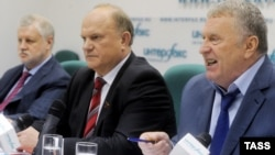 Сергій Миронов (л), Геннадій Зюганов (ц), Володимир Жириновський