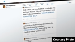 Твит финского блогера Мики Мякеляйнена с сообщением о том, что посольство РФ заблокировало ему доступ к своему аккаунту