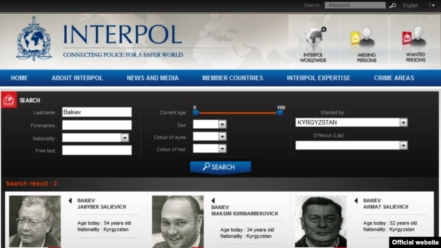 Interpol's website includes notices on Akmat Bakiev, Maksim Bakiev, and Janysh Bakiev (left to right).